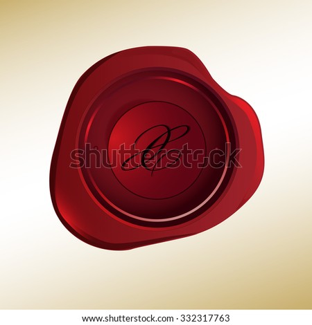 Realistic looking red wax stamp with the initial X - stock vector