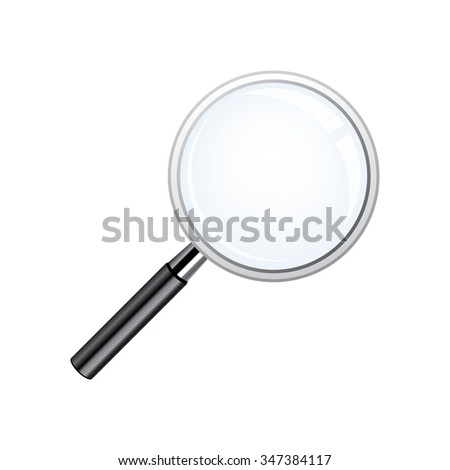 Realistic loupe, Magnifying Glass with black handle - stock vector