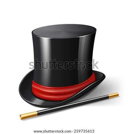 Realistic magician hat with magic stick entertainment show accessories isolated on white background vector illustration - stock vector