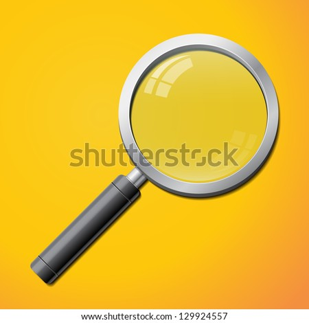 Realistic magnifier isolated - stock vector