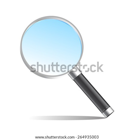 Realistic magnifier magnifying glass vector illustration - stock vector