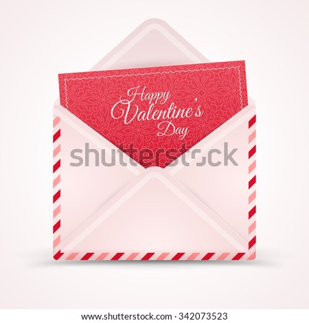 Realistic Mail Envelope, Letter Happy Valentine's Day. Vector illustration. Postal Message Icon. Open Envelope with Greeting Card Inside. Patterned Red Paper. Calligraphic Text Template. - stock vector