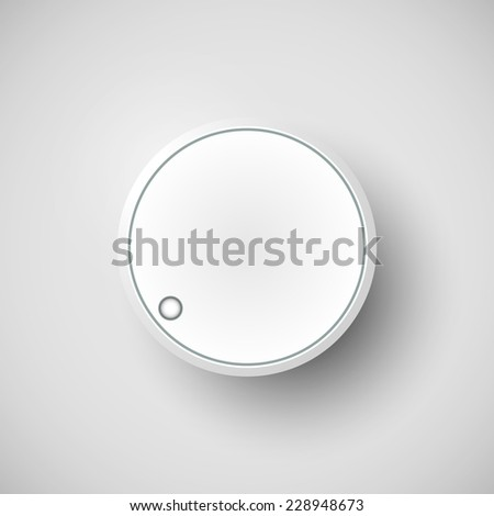 Realistic metal control panel tumbler. Music audio sound volume knob button minimum maximum level. Rotate switch interface stereo tuner isolated on white background. Design element Vector illustration - stock vector