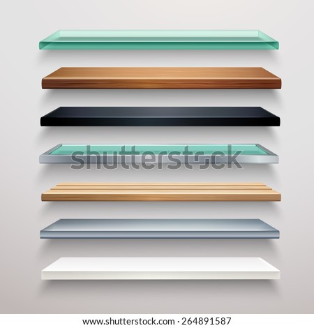 Realistic metal glass wood and plastic bookstore shelves set isolated vector illustration - stock vector