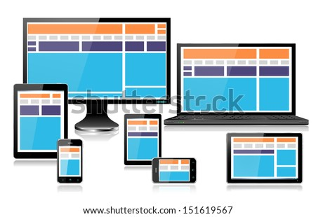 Realistic mobile and computer devices with laptop, tablet in ipade style, mini tablet and smartphone showing fully responsive style web design EPS10  - stock vector