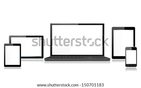 Realistic Mobile Computer Devices with laptop, tablet, mini tablet and smartphone each device grouped on a separate layer with reflections - stock vector