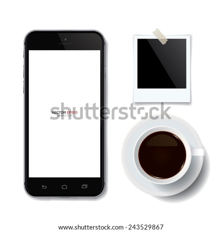Realistic mobile phone and coffee cup with blank photo frame on white background. Vector illustration - stock vector