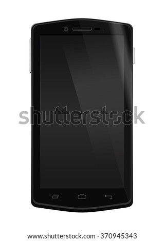 Realistic mobile phone with blank screen isolated on white background. Black smartphone with the screen off. Vector illustration. - stock vector