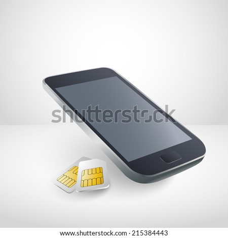 Realistic mobile phone with sim cards - stock vector