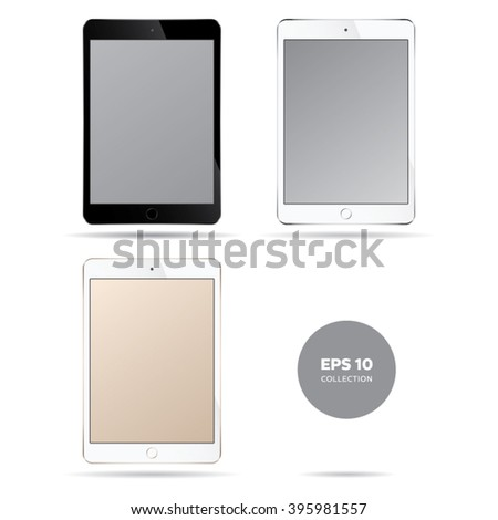 Realistic modern smart tablet illustration. Black, silver, gold full color collection.  - stock vector