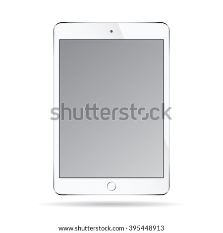 Realistic modern smart tablet ipad illustration with silver color isolated. - stock vector