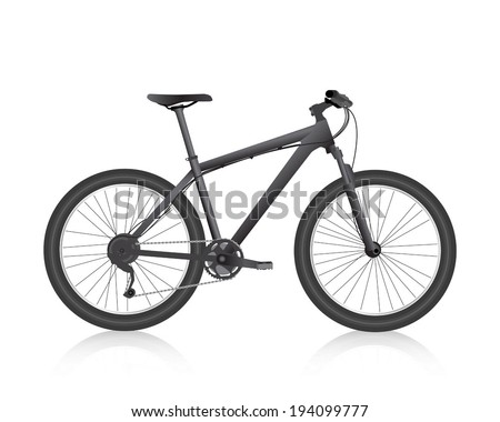 Realistic mountain bike black vector - stock vector
