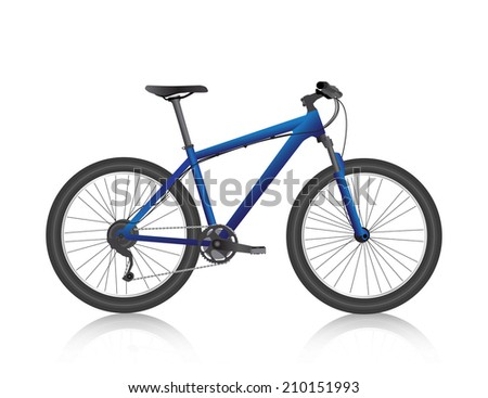 Realistic mountain bike blue vector - stock vector