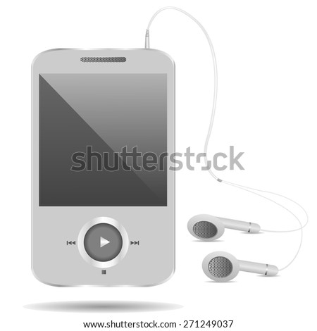 Realistic mp3 player on the white background. Vector illustration. - stock vector
