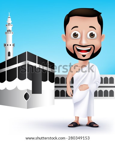 Realistic Muslim Man Character Wearing Ihram Cloths for Performing Hajj or Umrah Pilgrimage in Kaaba in Makkah with Black Stone in Background. Editable Vector Illustration. - stock vector