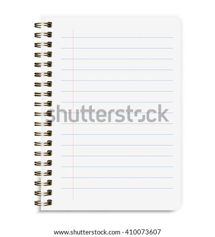 Realistic Notebook Size A5 With Line Isolated On White Background - stock vector