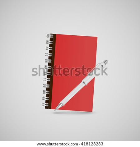 Realistic office icon notebook, for web, vector - stock vector