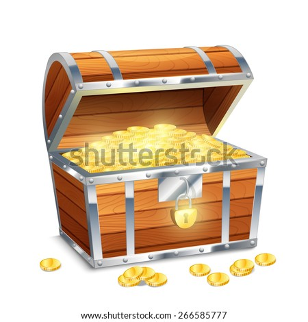 Realistic old style pirate treasure chest with golden coins isolated on white background vector illustration - stock vector