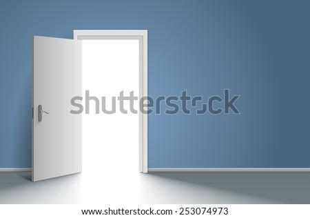 Realistic open door in blue wall. Vector illustration - stock vector