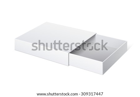 Realistic Package Cardboard Sliding Box Opened.  For small items, matches, and other things. Vector Illustration - stock vector