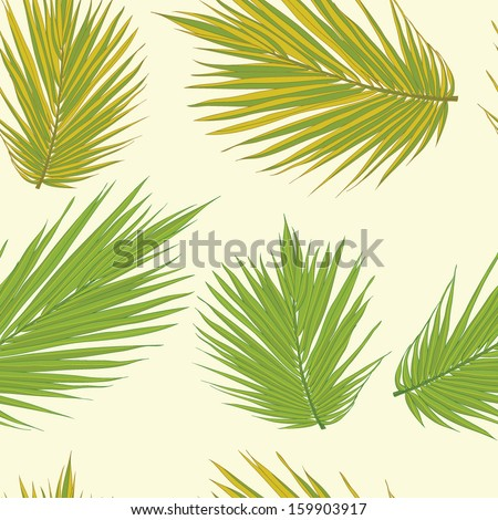 Realistic palm tree leaves seamless background. Floral texture. Tropical pattern. Fully editable flora illustration drawn in vector by hand. - stock vector
