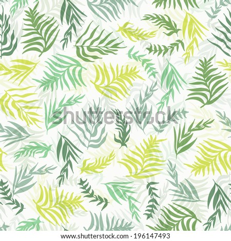 Realistic palm tree leaves seamless background. Floral texture. Tropical pattern. Fully editable flora illustration drawn in vector by hand. Eps10 vector. - stock vector