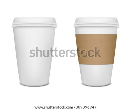 Realistic paper coffee cup set. Vector EPS10 illustration. - stock vector