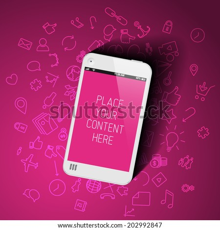 Realistic pink smartphone template with background icons and place for your content - stock vector