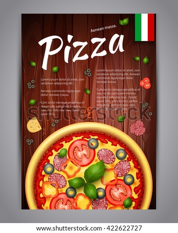 Realistic Pizza Pizzeria flyer vector background. Vertical Italian Pizza poster with ingredients and text on wooden background - stock vector