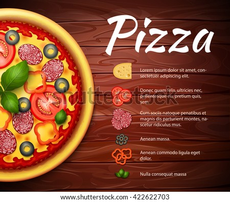 Realistic Pizza recipe vector background with ingredients. Pizza with tomatoes and pepperoni on wooden table - stock vector