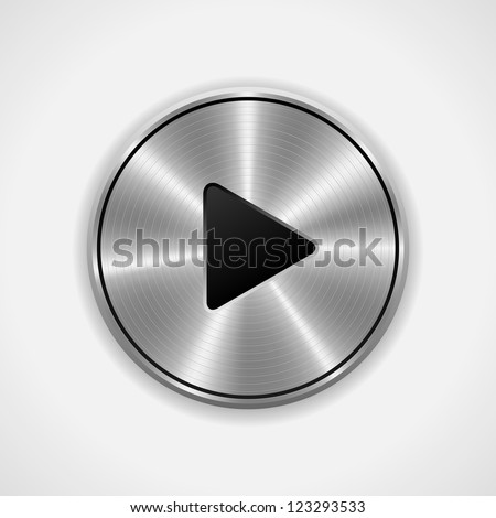 Realistic Play metal button. Vector eps10. Isolated - stock vector