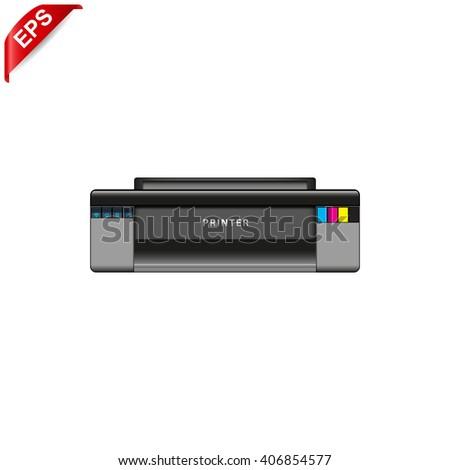 Realistic printer, printing sign, printer icon, isolated printer - stock vector