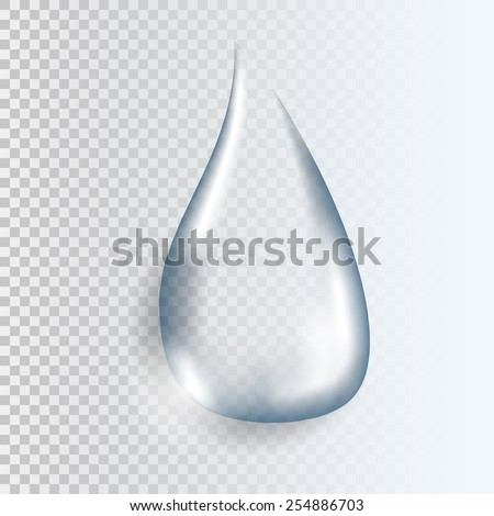 Realistic pure and transparent water drop with shadow on gray background. Art vector illustration - stock vector