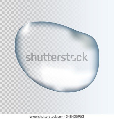 Realistic pure clear and transparent water drop with shadow on gray background. Vector illustration EPS10 - stock vector