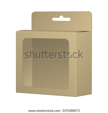 Realistic Recycled Card Product Package Box Mock-up With Window And Hang Slot. Blank Container, Packaging Template. Vector. - stock vector