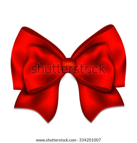 Realistic red bow isolated on white background - stock vector