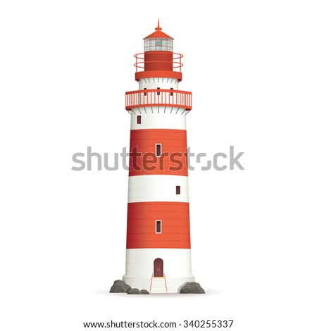 Realistic red lighthouse building isolated on white background vector illustration - stock vector