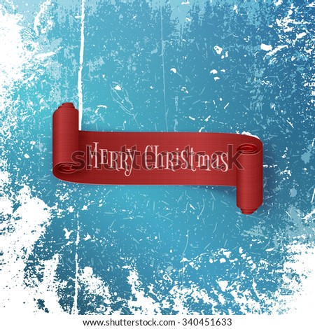 Realistic red Ribbon with Merry Christmas Text on Snow and Ice Background. Editable vector Template of greeting Card - stock vector