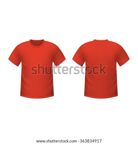 Realistic red t-shirt on a white background - stock vector