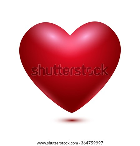 Realistic Red Valentine Heart. Vector illustration - stock vector