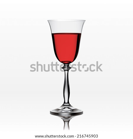 realistic red wine glass isolated on white background - stock vector