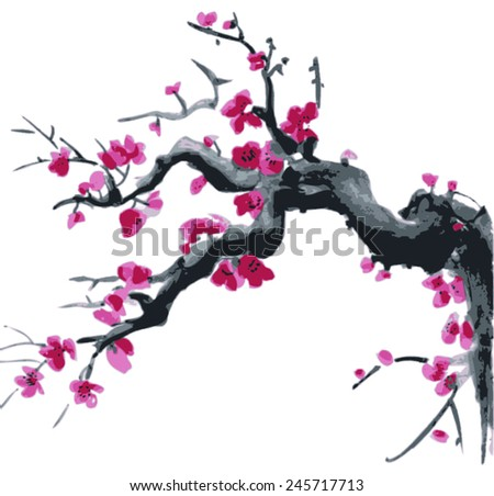 Realistic sakura blossom - Japanese cherry tree isolated on white background - stock vector