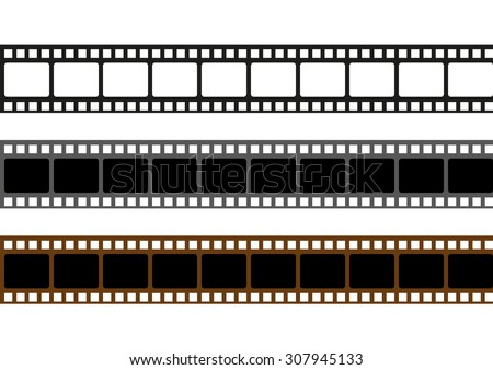 Realistic scan of 35mm color negative film strips - stock vector