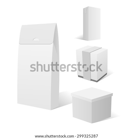 Realistic Set of four empty white Cardboard Box Packages. Isolated vector Illustration - stock vector