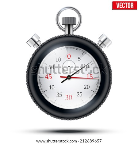 Realistic shine analog stop watch framed rubber tires. Sport and speed concept. Vector illustration isolated on white background. - stock vector