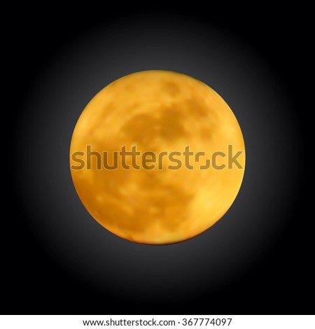 Realistic shining full moon in the dark blue sky. Detailed texture of a planet with craters. Astronomy, astrology concept. Gradient mesh vector illustration for your design and business.  - stock vector