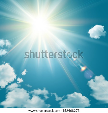 Realistic shining sun with lens flare. Blue sky with clouds background. Vector illustration. - stock vector