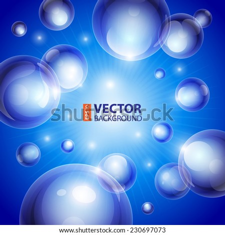 Realistic shiny transparent water drop bubbles on blue background. RGB EPS 10 vector illustration. Can be placed on any background color - stock vector