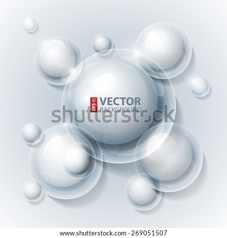 Realistic shiny transparent water drop bubbles on grey background. RGB EPS 10 vector illustration - stock vector