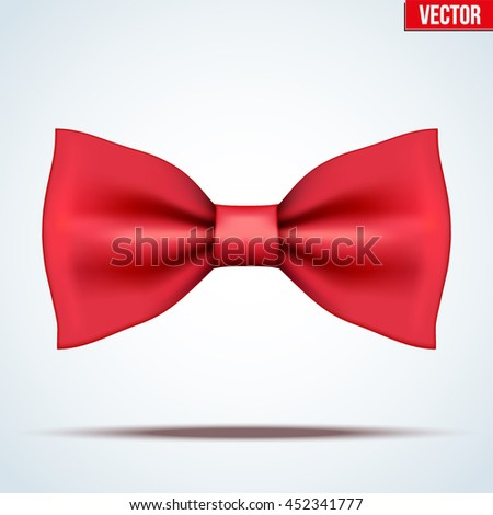 Realistic silk red bow tie. Fashion and trendy symbol. Editable Vector illustration Isolated on background. - stock vector